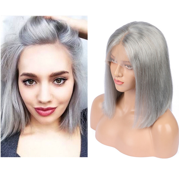 Silver grey Color Human Hair Glueless Full Lace Wig With Baby Hair Bob hair cut Lace Front Wig For Woman Bleached Knot