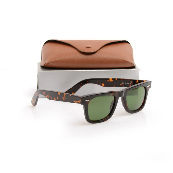 High Quality Plank Sun glasses 2140 Glass Lens Tortoise Frame Green Lens Metal hinge Sunglasses ray Mens Womens Sunglasses 2140 Sun glasses