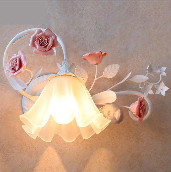 Regron Pastorale Naturalism Flower Nachttischlampen Gartenart Wandleuchte E27 Led Wandleuchten Schlafzimmer Flur Flur Galerie Balkon