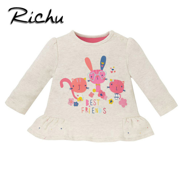 Richu new arrivals classic long sleeve t-shirt girls baby kids tops clothes for girls children blouse pattern toddler costume Made In China