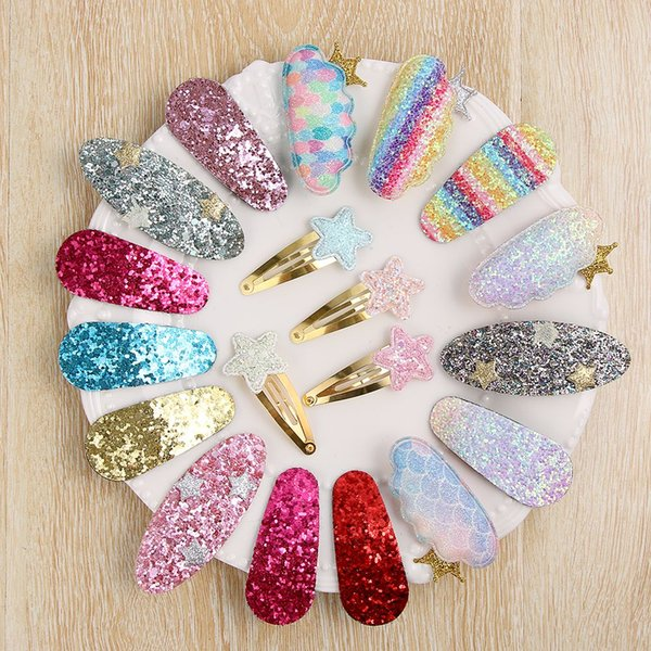 6pcs/lot PCS DIY Hairstyle Kawaii Girls Rainbow BB Hair Clip Sequins Shiny Hairpins Kids Barrettes Candy Color Women Hair Accessories