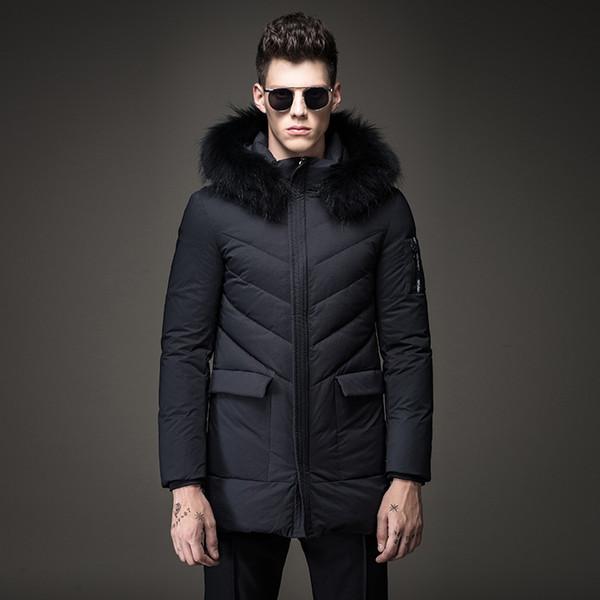 Winterjacke Männer 2018 Parkas Ente Daunenjacke Männer Parka Slim Fit Casual Pelz Collor Mit Kapuze Herren Kleidung Lange Daunenmantel T495