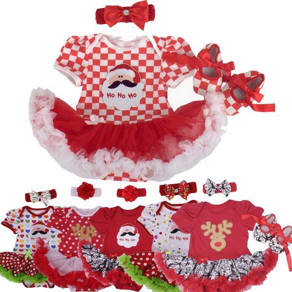Christmas Baby Girl Infant 3pcs Clothing Sets Suit Santa Claus Romper Dresses/Jumpsuit Xmas Party Birthday Costumes Vestido