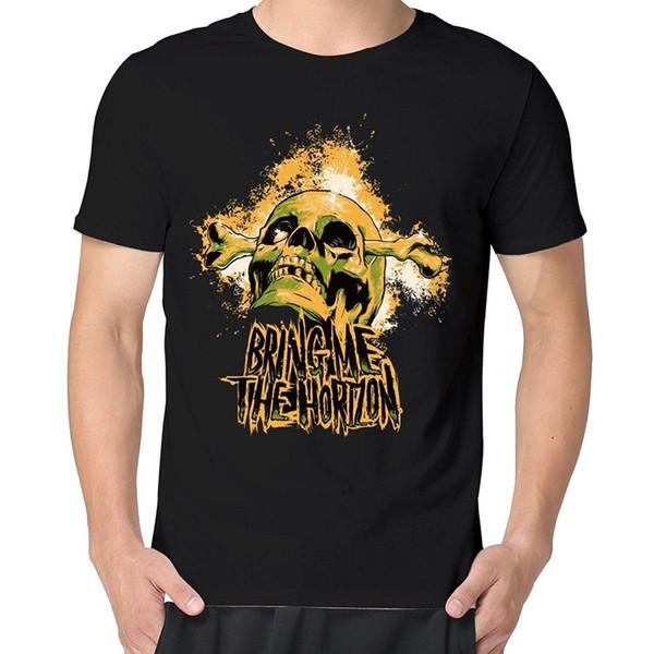 Los impresionantes cráneos dorados de los hombres me traen el horizonte Camiseta negra de manga corta de verano Camiseta de algodón Moda juvenil