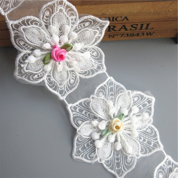 8cm Wide 3D White Cotton Hexagonal Flower Embroidered Lace Trim Ribbon Sewing Supplies Craft For Costumes Decoration 2 yard/set