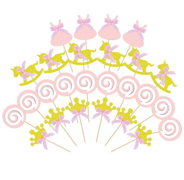 1st Birthday Decoration Kids Baby Boy Girl Party Decoration Gold/Pink Cupcake Toppers Princess Crown Cake Toppers
