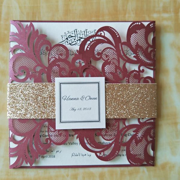 50pcs Luxurious Wedding Invitations Burgundy Fashion Laser Cut Vintage Personalized Printing Engagement Cards Wedding Supplies