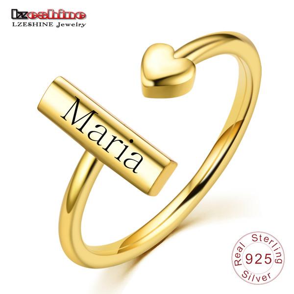LZESHINE Personalizar Gravado Nome Anel Cor De Ouro de Prata S925 Anéis Ajustáveis Personalizados Personalizados Para As Mulheres Aniversário Jóias