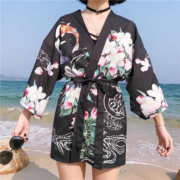 Vintage japanischen Harajuku Stil Bluse japanischen Kimono Cosplay Print Chiffon Strickjacke Yukata Frauen asiatischen Kleid traditionellen