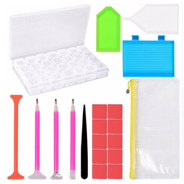 20pcs 5D Diamond Painting Tools 28 Grids Storage Box Sticky Pen DIY Embroidery Cross Stitch Tool Kit For Handmade Crafts