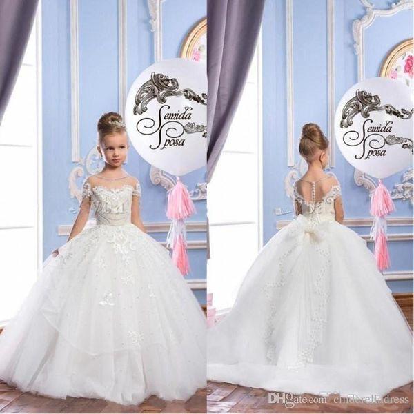 2018 perles blanches dentelle pure cou tulle arabe filles robe pageant robe enfant vintage pageant robes belle robe de mariée fille fleur BA7180