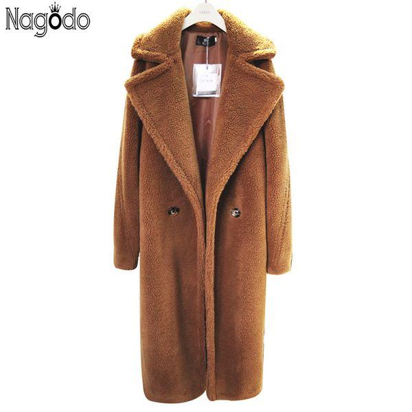 top popular Nagodo Teddy Coat Women 2018 Winter Thicken Pink Faux Fur Coat lapel collar female Loose Plush Coat Warm Long Lamb Wool Coats D18110103 2020