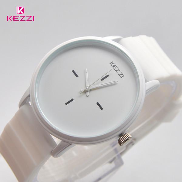 Kezzi marca black white silicone relógios estudante mulheres homens esporte relógio de quartzo casal ultra fino casual watch relojer feminino