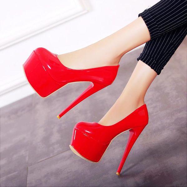 2018 spring autumn red black white pumps shoes for woman extreme high heels sexy platform dress wedding Stiletto 16cm plus size