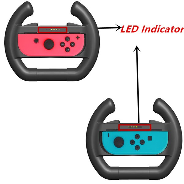 Venda quente 2 pcs Nintend Switch Upgrated Indicador LED Joy-con Steering Racing Wheel Handle Aderência para Nintendos Switch Controlador + 4 caps