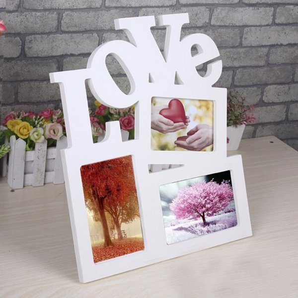 Wooden Photo Frame DIY Picture Frames 1pcs Art Home Desk Decor Three Windows fast shipping DIY Picture hollow Love Design