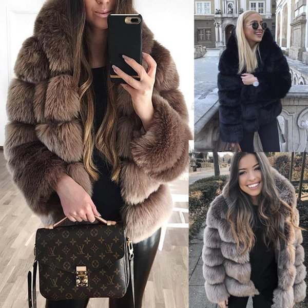 Vintage faux fur coat hooded women short furry fake fur winter designer thick warm outerwear jacket casual party overcoat
