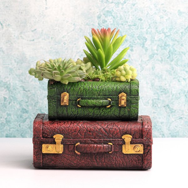 1 stück Vintage blumentopf retro Europa koffer sukkulenten töpfe geschenke design pflanzer halter für kakteen