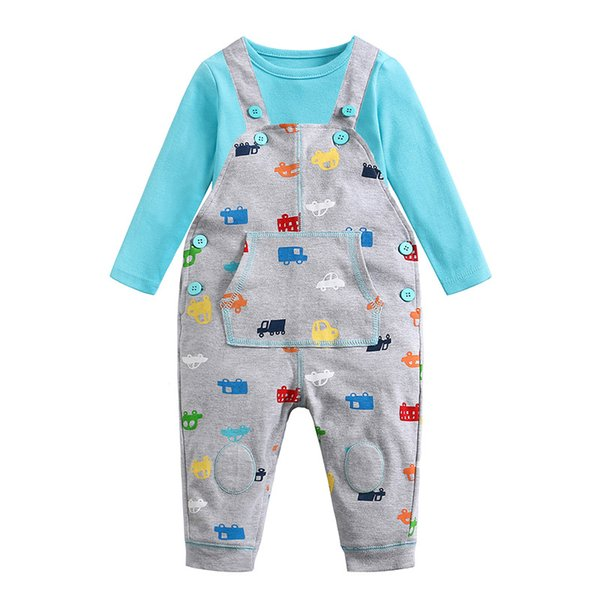 Picturesque Childhood Printed Car Cartoon Baby Boy Clothing Double Set Suspenders Trousers Pants Style Strap Baby's Set