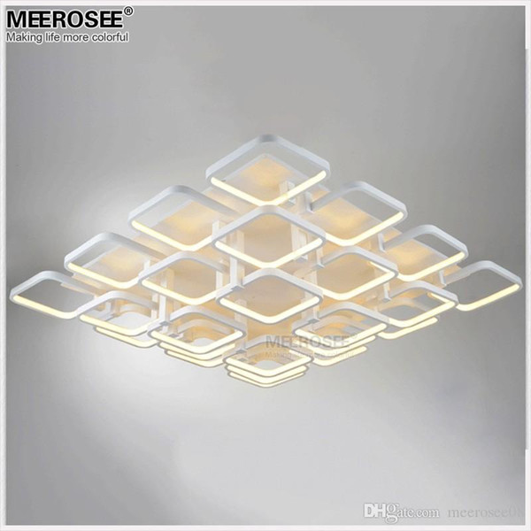 Square LED Chandelier Lighting Lámpara de acrílico blanca montada en superficie LED para sala de estar lamparas de Techo Home Lighting