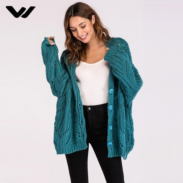 Casual Cardigan Knitted Sweater Women Winter Autumn 2018 Batwing Sleeve High Street Girls Fashion Loose Blue Sweaters Outerwear