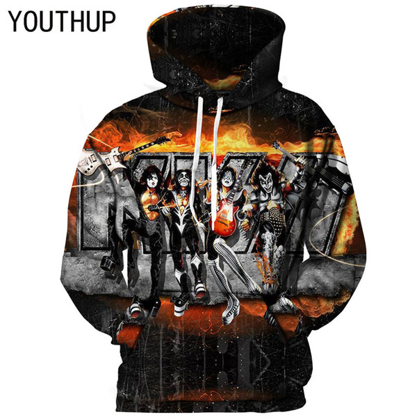 YOUTHUP 2018 Hooded Hoodies Men 3D Print KISS Band Series Player Rock Hombre Sudaderas 3D Iron Maiden Tops Jersey Streetwear