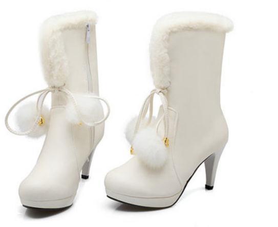 Free send 2018 new style Winter high heel Fine heel Korean women Middle barrel boots