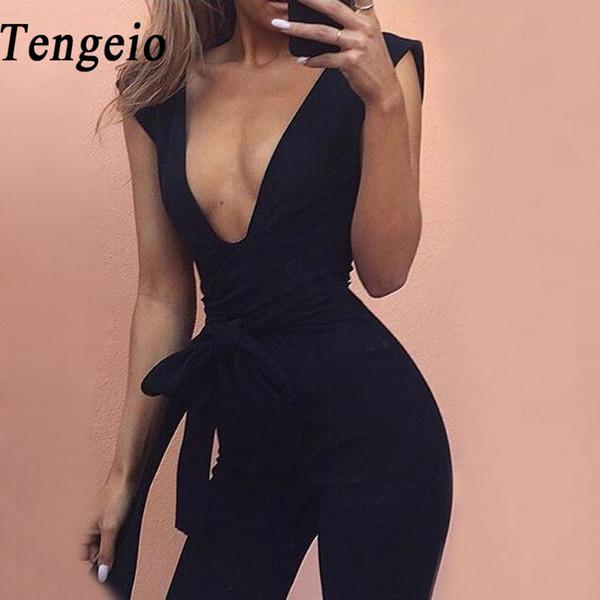 Tengeio Bodysuit Body Suits Для Женщин Летние Комбинезоны Body Femme Глубокий V Шеи Сексуальные Клубные Наряды Длинный Комбинезон С Поясом 20