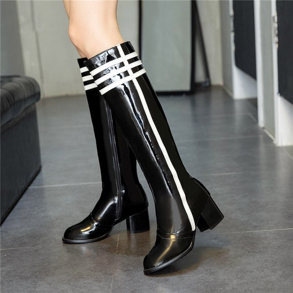 YMECHIC 2018 Fashion Autumn Knight Ridding Knee High Boots Female Pu Patent Leather Striped Block High Heel Yellow Purple Shoes