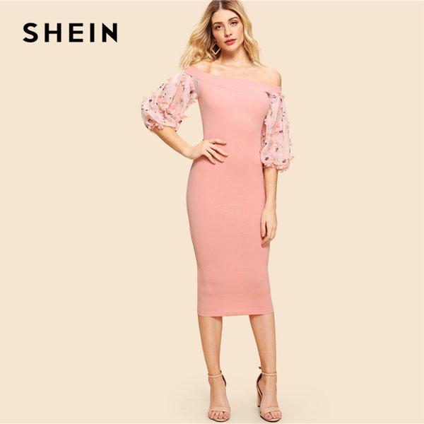 71d0d8e94a10b 20187 Shein Pink Party Elegant Off Shoulder Embroidery Flower Applique  Contrast Mesh Bishop Sleeve Dress Summer Women Going Out Dress Sun Dresses  Sale ...
