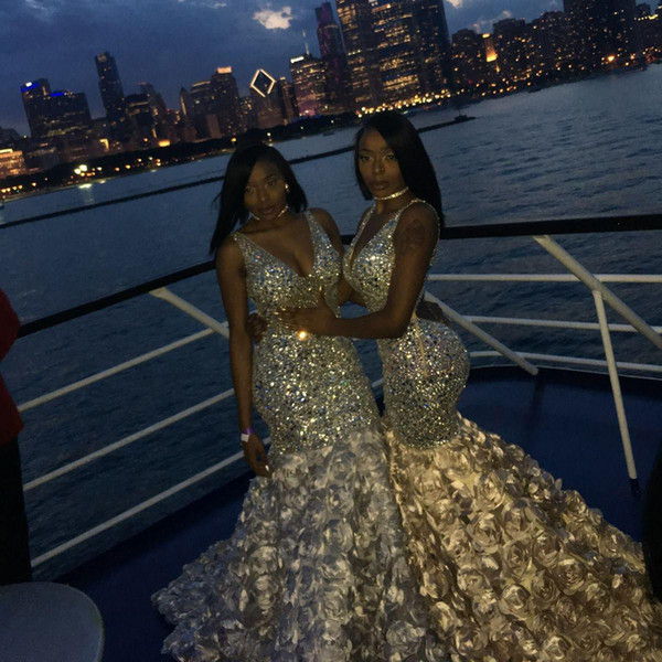 Bling Bling Mermaid Prom Dresses Sexy V Neck Beads Crystals 3D Floral For Black Girls African Evening Dresses Plus Size Arabic Party Wear