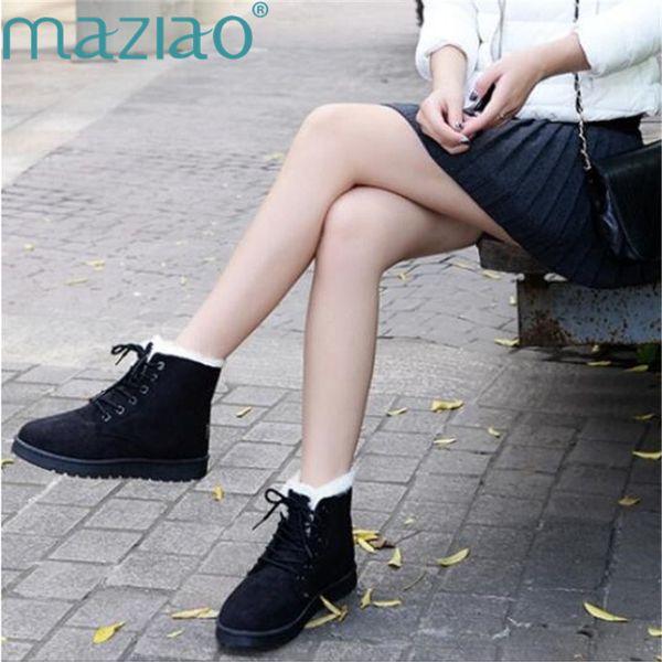 Hiver Chaud En Peluche Bottes De Neige Femme Chaussures Femmes Chaussures Dames Bottines Femmes Chaud À Lacets Combat pour Femmes MAZIAO