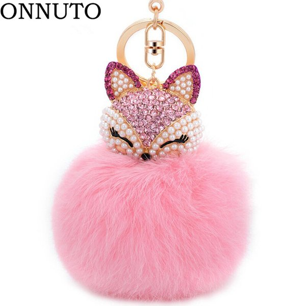 Lovely Crystal Faux Fox piel de conejo llaveros mujeres baratijas Suspensión en bolsas llavero llaveros de juguete regalos 7C0394