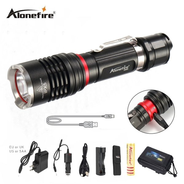 AloneFire X960 USB Handy Powerful LED Flashlight Rechargeable Torch usb Flash Light Bike Pocket LED Zoomable Lamp For 18650 battery