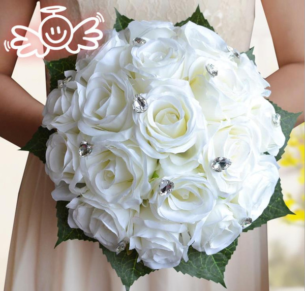 Rose simulation flowers, bride holding flowers, milk white wedding gifts, holiday gifts