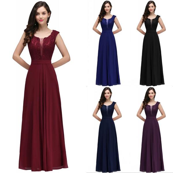 Designed Cheap Bridesmaid Dresses Lace A-Line Evening Dresses Backless Cap Sleeves Floor-Length Chiffon Formal Party vestido de festa CPS724
