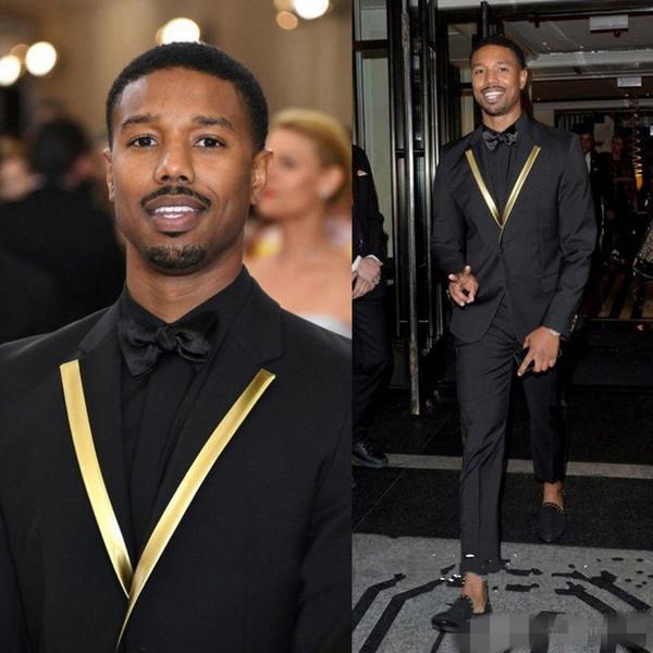 Siyah İki Adet Düğün Smokin Slim Fit Erkekler Için Suits Groomsmen Suit Ucuz Custom Made Balo Resmi Takım Elbise (Ceket + Pantolon)