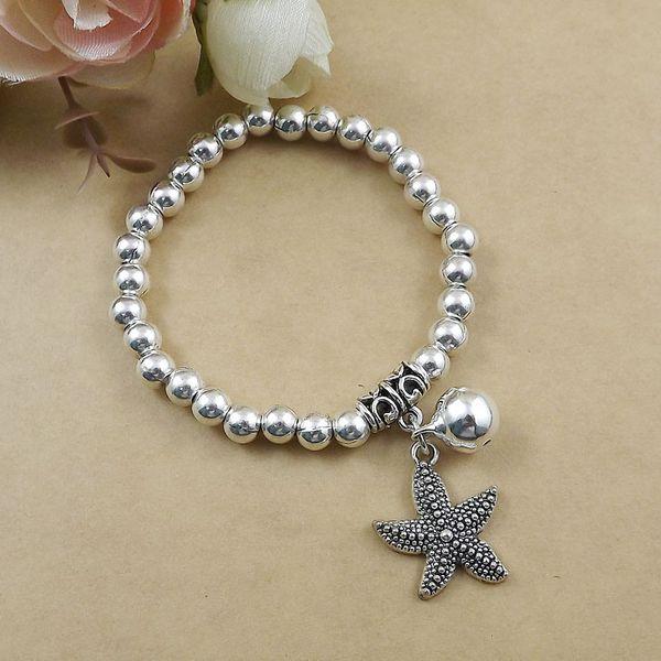 Großhandelsart und weiseschmucksache-Silber-Klingelglocke Starfish-Charme-Armband-Kugel bördelt Kette