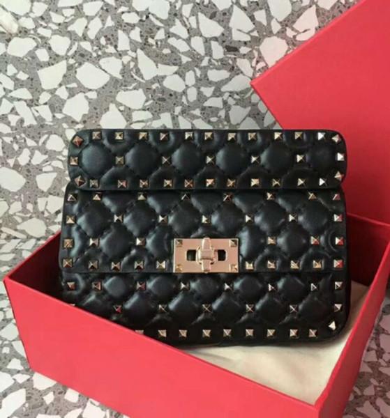 2019 tud genuine leather high fa hion handbag diamond lattice metallic full tart evening mall bag detachable trap women cluth bag 20cm