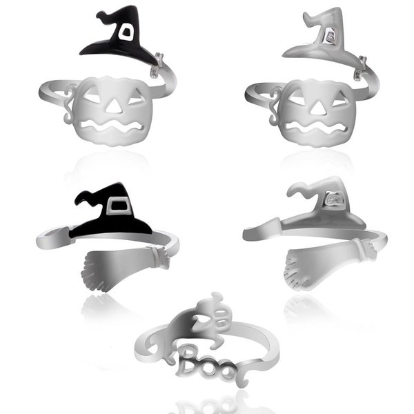 Halloween Rings Witch Hat Ring Broom Broom Mop Pumpkin Lamp Hollowed Out Personality Simple Ring Party Favor