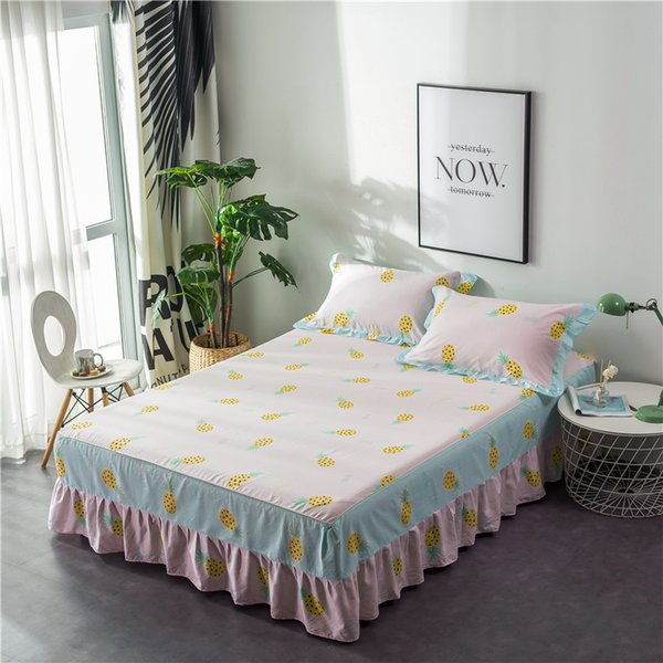 Twin Full Queen King Bed Cover Bed Skirt Cotton sheet Coverlet Pillowcase Red Yellow Green Purple colcha cama couvre lit