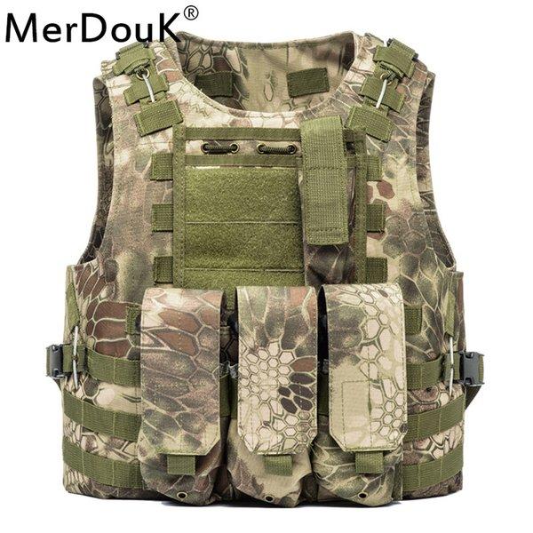 top popular Unloading Vest Tactical Molle Air soft Protection Plates Colette Soldier Combat Vest Army  Three clip vests 2019
