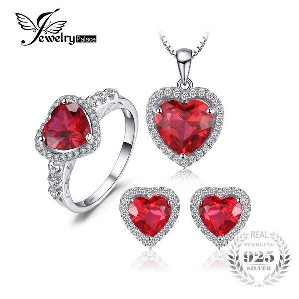 JewelryPalace Heart of Sea Love Created Ruby Ring Stud Earings Pendant Necklace 925 Sterling Silver Jewelry Sets Fine Jewelry S18101508