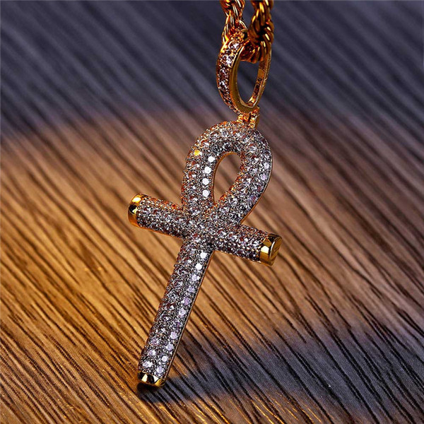 Gold Chain For Men Iced Out Egyptian Ankh Key Zircon Pendant Necklace Mens Necklace Hip Hop Jewelry
