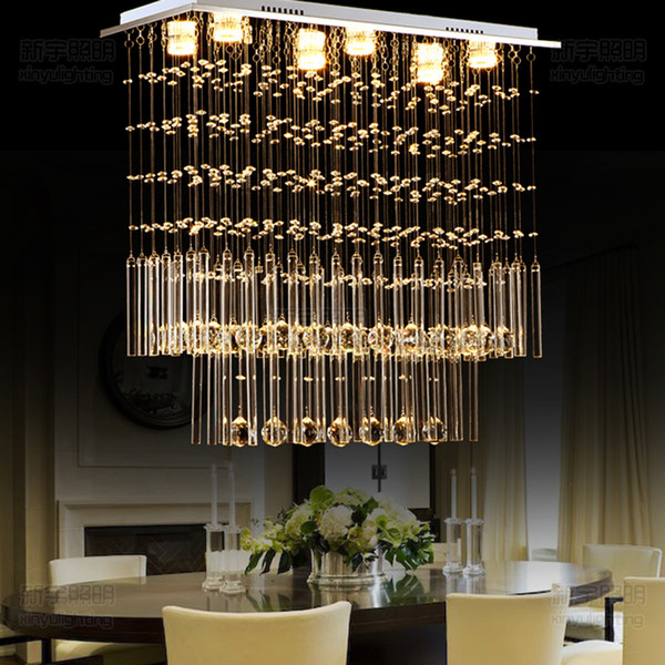 Bar rectangular crystal ceiling lamp. LED 3 brightness K9 crystal and chrome mirrored stainless steel. study. Living room ceiling light chan