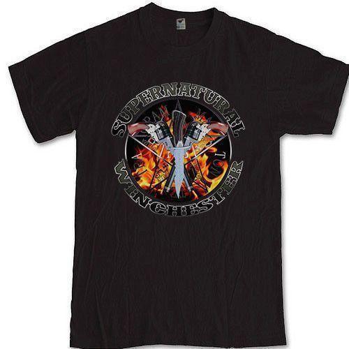 SUPERNATURAL Tee HORROR SERIE DE TV Camiseta familiar de Winchester Ropa Camiseta Camiseta Harajuku Hombres divertidos Camisetas Hombres más