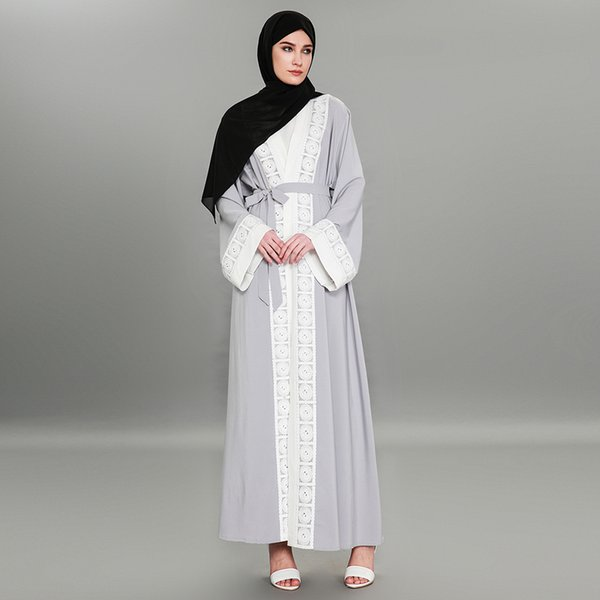 2019 New Arrival Muslim Women Lace Abaya Dress S 5xl Plus Size Elegant Lace Kaftan Dress With Belt From Thefashionstore 2421 Dhgatecom