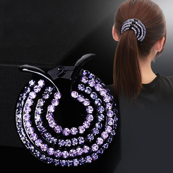 HOT SALE 6PCS/ Big Circle Round Plastic Hair CLIP Jewelry Claw Clamp Pin Clip Crystal Rhinestone Ponytail holder button