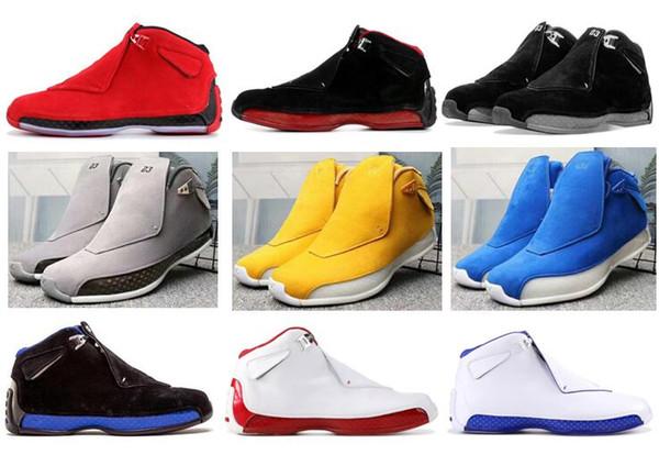 De haute qualité 18 Toro Rouge Suede Gris Bleu Jaune Orange Suede Hommes Basketball Chaussures 18s Bred OG ASG Chaussures Blanc Noir avec la boîte