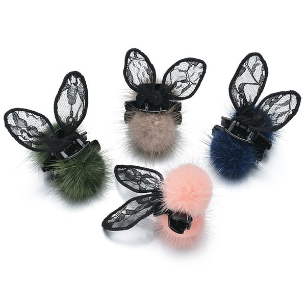 2018 Hot sale Rabbit ear clamps lace style hair clamp jewelry solid color 9 colors for ladies free shipping